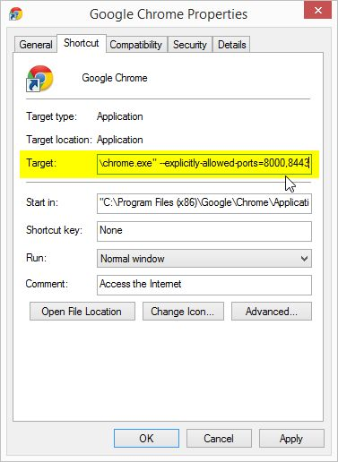 how to get past google chrome security error